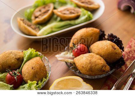 Icli Kofte / Stuffed Meatball Falafel.