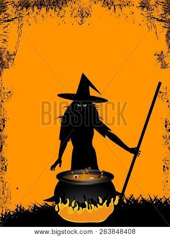 Halloween Spooky Witch With Green Evil Eyes On Front Of Cauldron Over Yellow Grunge Background