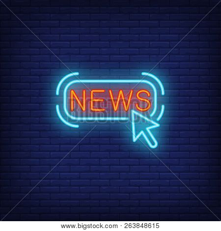 News Link Neon Sign. Glowing Link With Inscription On Dark Blue Brick Background. Vector Illustratio