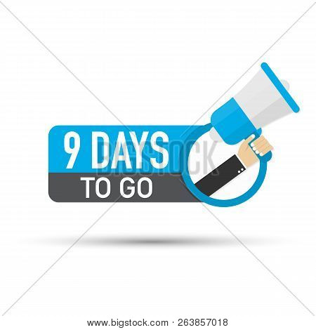 9 Days To Go Flat Icon On White Background. Vector Stock Illustration.