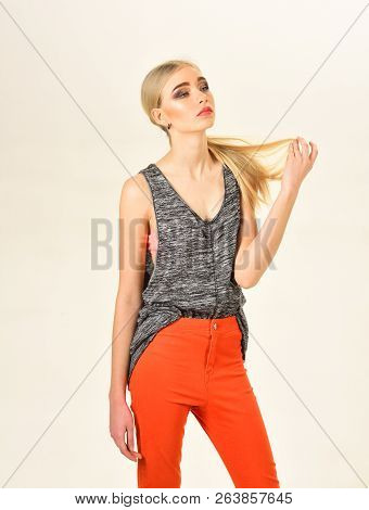 Hip Hop Girl With Fashionable Hair. Hipster Woman With Fashion Makeup. Beauty And Fashion Look Of Vo