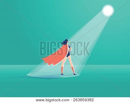 Business Recruitment Vector Concept. Businesswoman Superhero In Spotlight. Symbol Of Hiring, Headhun