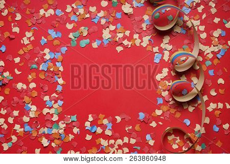 Confetti And Paper Streamer Background Frame, Party Celebration Concept Flat Lay With Copy Space For