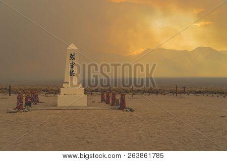 July 8 2018 - Bishop, California: Manzanar National Historic Site Monument In Inyo County California