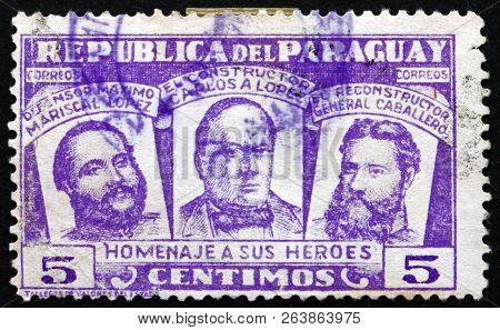 Paraguay - Circa 1954: A Stamp Printed In Paraguay Shows Three National Heroes, Marshal Francisco S.