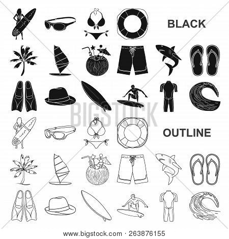 Surfing And Extreme Black Icons In Set Collection For Design. Surfer And Accessories Vector Symbol S