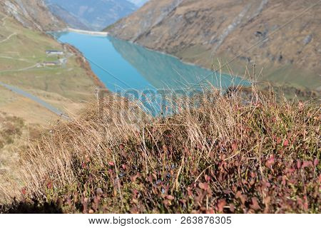 autumn hike to grosses Wiesbachhorn in glocknergruppe  hohe tauern in austria from Kaprun around mooserboden dam and heinrich schweiger haus hutte poster