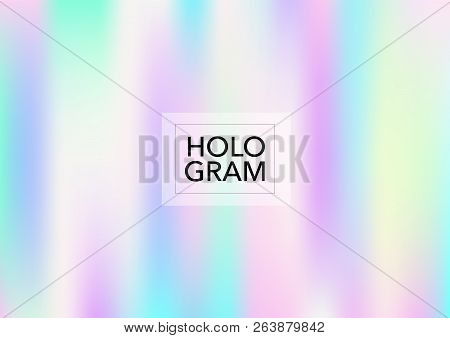 Dreamy Hologram Gradient Vector Background. Soft Trendy Tender Pearlescent Rainbow Overlay. Cool Fun