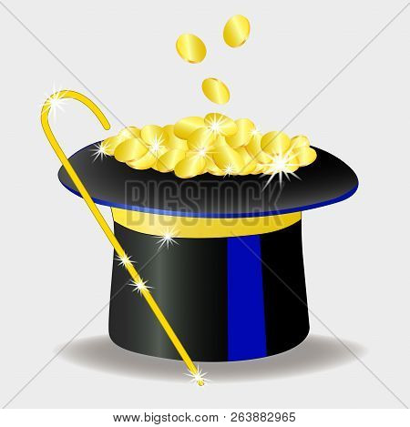 There is a lot of money in the banker's hat .. Banker's cane. Coins. Isolated, white. vector