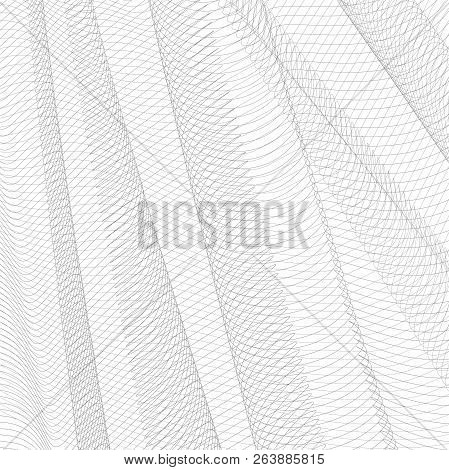 Abstract Gray Net. Monochrome Squiggle Thin Lines, Curves. Vector Striped Background. Line Art Patte