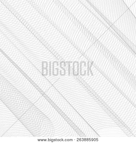 Abstract Network With Diagonal Drapery. Gray Squiggle Thin Lines, Curves. Vector Monochrome Striped