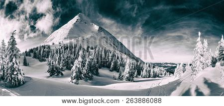 Beautiful winter landscape of The Carpathian Mountains. Petros peak covered with snow. Monochrome photo.