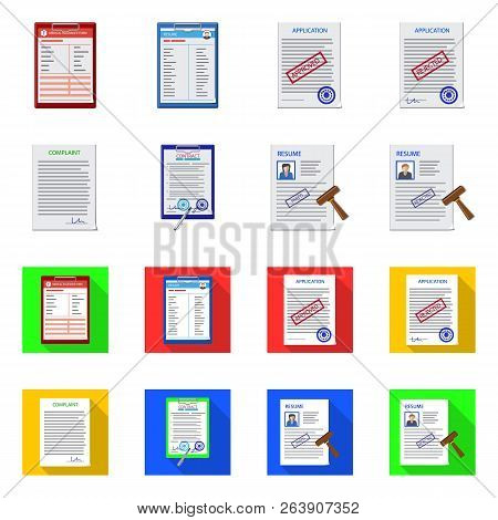 Vector Illustration Of Form And Document Icon. Set Of Form And Mark Stock Vector Illustration.