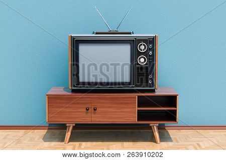 Retro Tv Set On The Stand In Room On The Wooden Floor, 3d Rendering