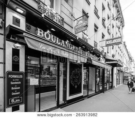 Paris, France - Oct 13, 2018: La Truffe Noire Pattiserie Boulangerie Bakery Fromthe Banette Chain  O