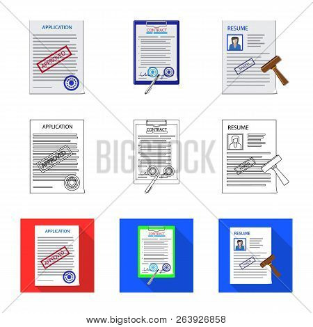 Vector Illustration Of Form And Document Logo. Set Of Form And Mark Vector Icon For Stock.