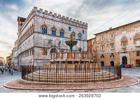 View Of Fontana Maggiore, Monumental Medieval Fountain Located Between The Cathedral And The Palazzo