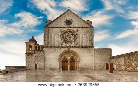 Facade Of The Papal Basilica Of Saint Francis Of Assisi, One Of The Most Important Places Of Christi