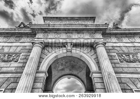 The Iconic Landmark Porta Garibaldi, Previously Known As Porta Comasina, Which Is A City Gate With N