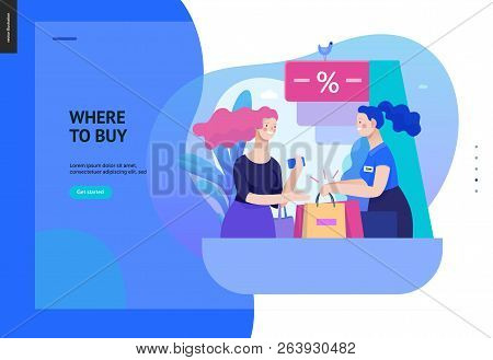 Business Series, Color 2 - Where To Buy - Modern Flat Vector Illustration Concept Of A Customer And