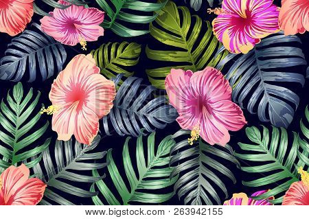 Green Red Exotic Pattern. Monstera And Hibiscus Flowers Tropical Bouquet.  Hawaiian T-shirt And Swim