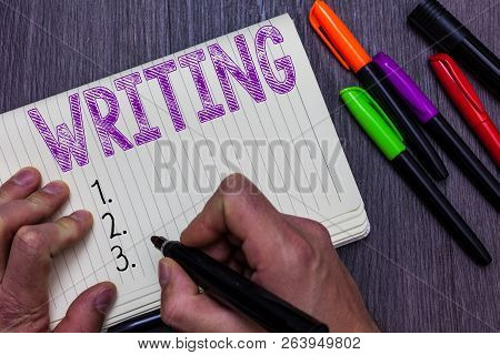 Text Sign Showing Writing. Conceptual Photo Action Of Write Something Making Important Notes Letters