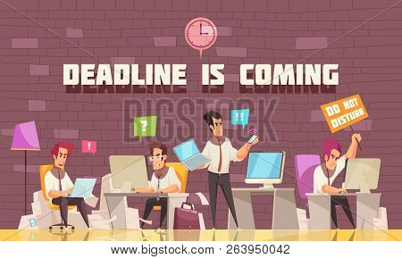 Deadline Is Coming Flat Vector Illustration With Business People Busy With Urgent Work And Brainstor