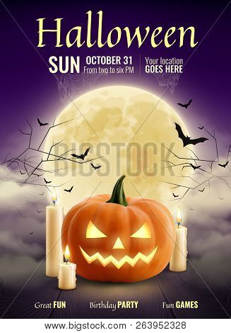 Halloween Party Realistic Poster With Pumpkin Candles Big Glowing Moon Ball On Night Sparkle Sky And