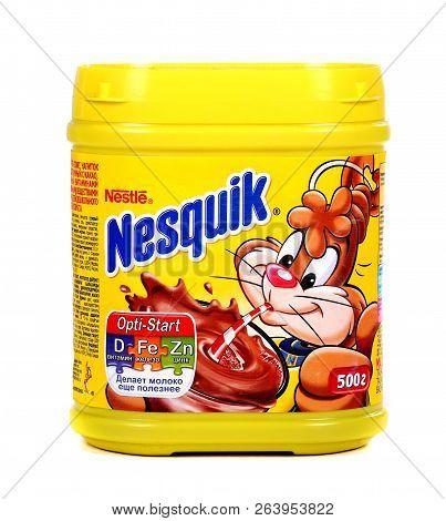 Novyy Urengoy, Russia - October 18, 2018: Yellow Can Of The Nestle Nesquik Cocoa Isolated Over White