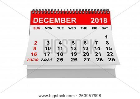 2018 Year Calendar. December Calendar On A White Background. 3d Rendering