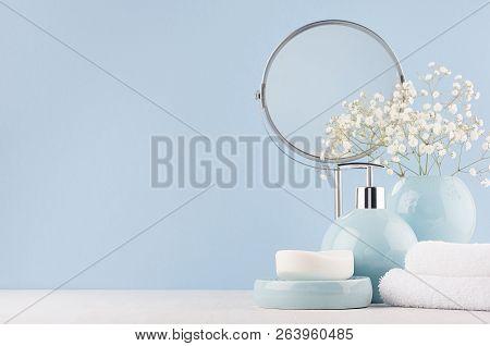 Delicate Elegant Ceramic Decorations For Bathroom - Soft Blue Bowls, Vase, White Flowers, Towel And