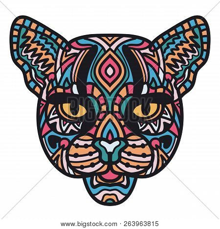 Illustration of head of wild cat on white background. Hand drawn cat for coloring book. Zen-doodle art, tattoo design colorful illustration. Freehand sketch drawing for adult anti stress coloring page poster