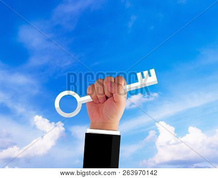 Business Solution, Solving Problem, Strategy And Planning Concept, Hand And Key Of Success On Blue S