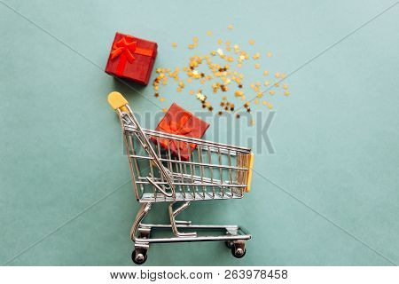 Conceptual Photo Of Christmas Sales Or Gift Shopping. Preparing For The New Year And Christmas. Buyi