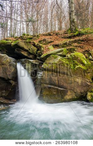 Waterfall Davir On The Turichka River In The Forest Near Lumshory Village Of Transcarpathia, Ukraine