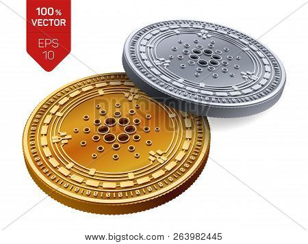 Cardano. Crypto Currency. 3d Isometric Physical Coins. Digital Currency. Golden And Silver Coins Wit