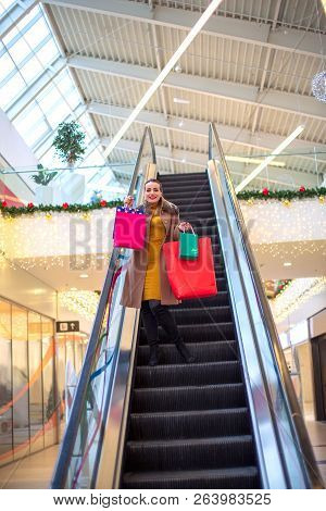 Holidays Shopping- Happy Smiling Girl In Christmas Shopping Consumerism, Christmas, Shopping, Lifest
