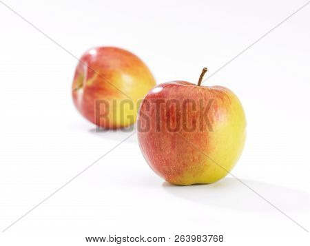 Close Up Of An Apple On A White Background