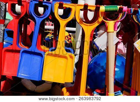 Multicoloured Toys And Beach Spades For Sale At Beachfront Kiosk