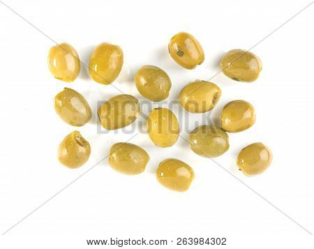 Green Olives With Olive Oil On A White Background