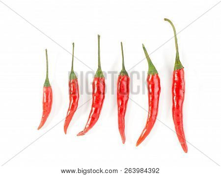 Six Red Chillis On A White Background