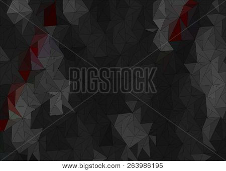 Dark Abstract Background With Black Triangles With Red Splashes. Abstract Triangle Black Texture Wit