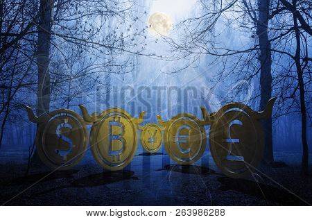 bullish coins hide in foggy forest. accumulating moon energy and waiting for the momentum to reveal their power on the market. spooky Halloween crypto night trading. 3d illustration poster