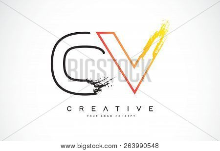 Ov  Creative Modern Logo Design Vetor With Orange And Black Colors. Monogram Stroke Letter Design.