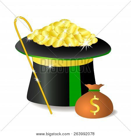 There is a lot of money in the banker's hat . Banker's cane. Coins in a bag. Dollar. Isolated, white. vector