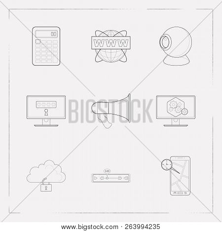 Set Of Tech Icons Line Style Symbols With Computer Widget, Real Time Location, Www Address And Other