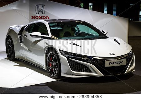 Paris - Oct 2, 2018: Honda Nsx Sports Car Showcased At The Paris Motor Show.