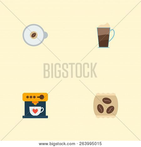 Set Of Beverage Icons Flat Style Symbols With Mocha, Instant, Espresso Dispenser And Other Icons For