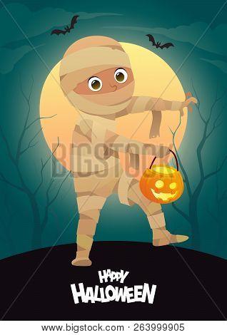 Boy In Halloween Mummy Costume Cartoon Vector Character For Party Vector