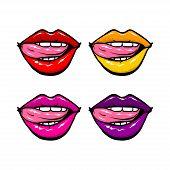 Open mouth woman lips tongue pop art style. Vector fashion kitsch cartoon sketch design. Wow modern glossy sensual kiss. Hot feminine background poster